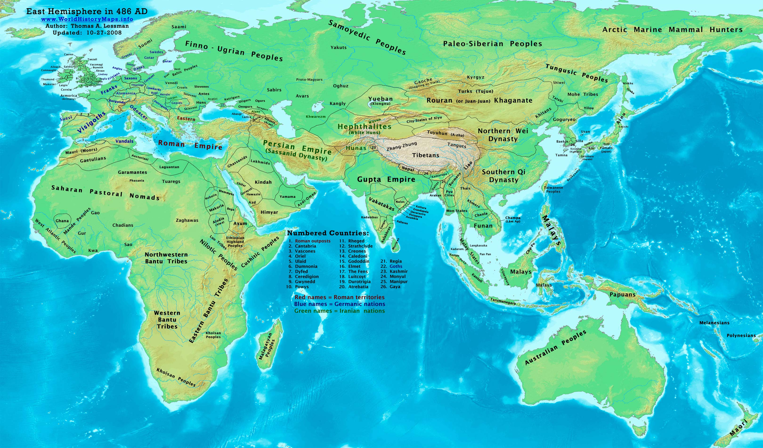 Also Edited Maps Of Hephthalites In 500 AD And Yueban In 480 AD To Show  Southern Qi Dynasty.