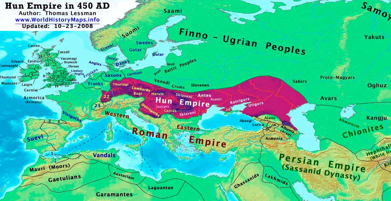 World History Maps By Thomas Lessman - Map of rome 400 ad
