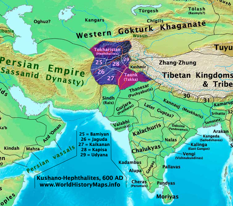 Kushano-Hephthalite Kingdoms in 600 ADZoroastrianism Map