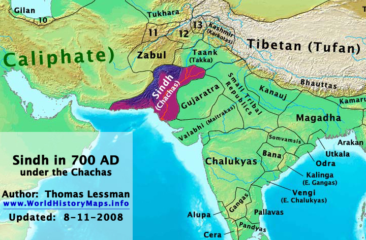 World history maps by thomas lessman sindh chachas in 700 ad gumiabroncs Choice Image